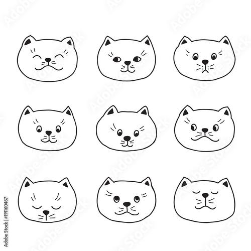 Papiers peints Cartoon draw cute cats, vector illustration, hand drawn black outline.
