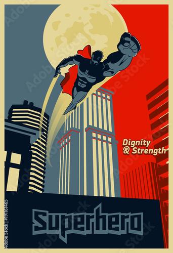 Photo  Superhero flying through the night city