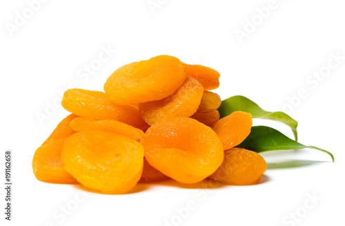 Dried apricot slices isolated on white
