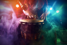The Musician Plays The Bongo O...