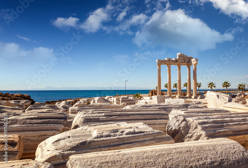 Ruins of Apollo temple in Side near Antalya, Turkey Canvas Print