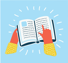 Hand Pointing At A Book Icon , Vector Illustration