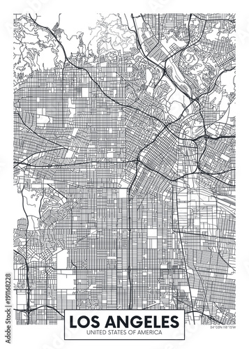 Fotografía Vector poster map city Los Angeles