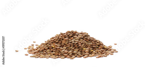 Tuinposter Kruiderij Pile of green lentils isolated on white background