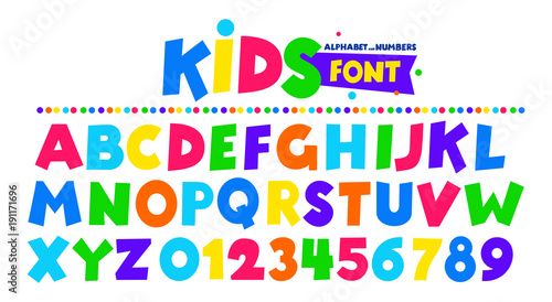 Fotografía Kids font in the cartoon style, alphabet and numbers
