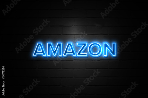 Valokuva  Amazon neon Sign on brickwall
