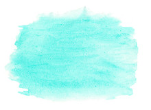 Abstract Ink Texture Brush Background Turquoise Green Aquarel Watercolor Splash Hand Paint On White Background