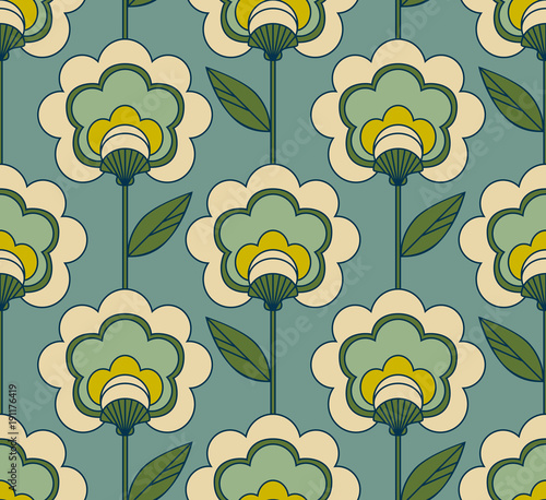 seamless retro floral pattern Wallpaper Mural