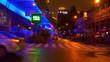night illuminated shanghai city traffic street construction walking panorama 4k china