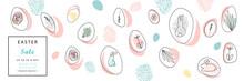 Creative Unusual Unique Artistic Hand Drawn Header Easter Eggs Pattern Trendy Background For Advertising, Social Media, Web Design, Etc. Vector Illustration