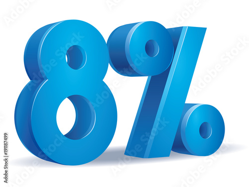 Cuadros en Lienzo  illustration Vector of 8 percent blue color in white background