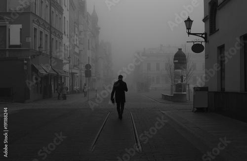 Black and White shot of city. Fototapeta