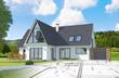 Esquisse et plan d'une maison individuelle moderne