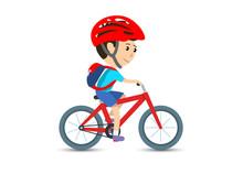 Teen Kid School Boy Cycling On...