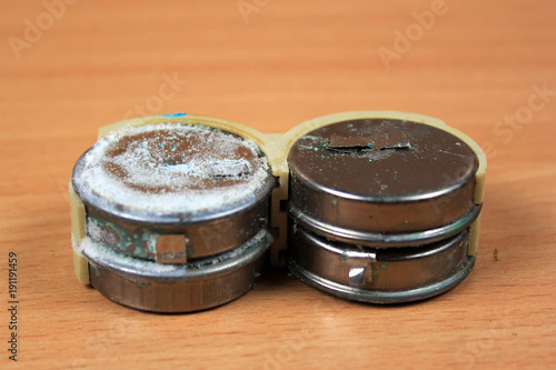 Photo Old leaked and corroded nickel cadmium batteries