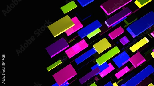 Abstract background. Multicolor geometric shapes. 3d illustration. Glass rectangles. Vivid blocks. Simple abstract backdrop. Digital image.