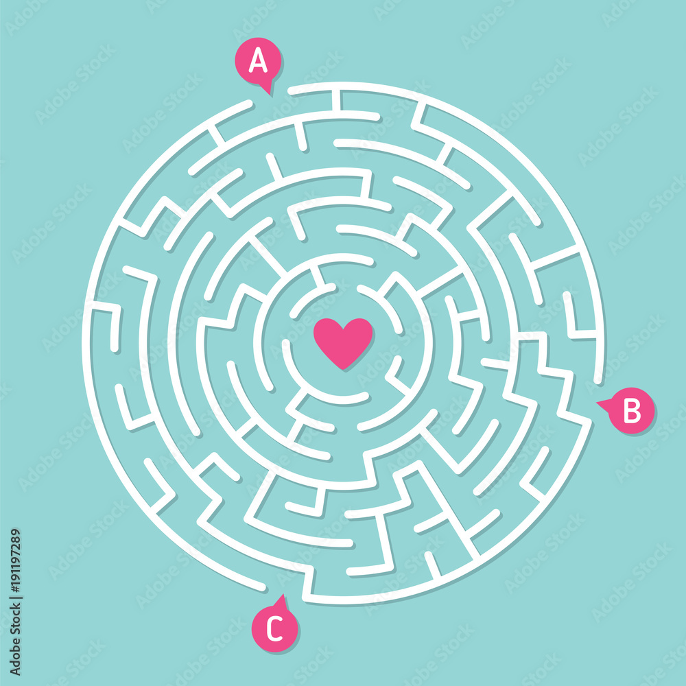 Fototapeta Round labyrinth maze game, find your path to heart. Concept of love