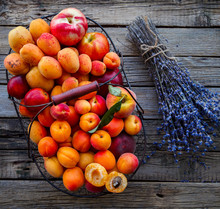 Apricots, Fruits In A Metal Ba...