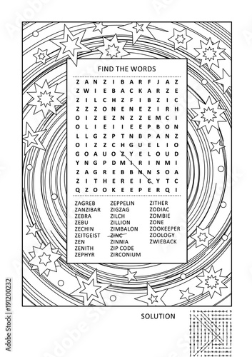 Puzzle and coloring activity page for grown-ups with z-words word ...