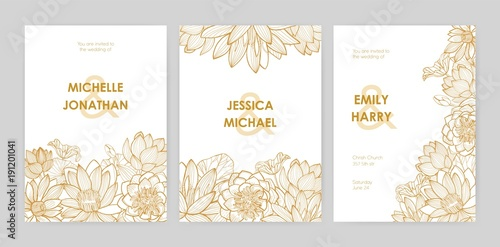 Photographie  Bundle of wedding invitation card templates decorated with beautiful blooming lotus flowers, buds and leaves hand drawn with golden contour lines on white background