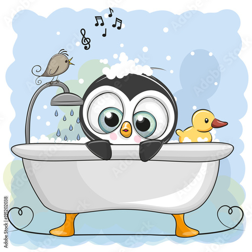Cute Cartoon Penguin In The Bathroom