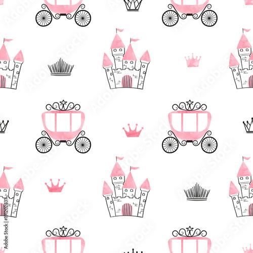 Bezszwowa księżniczka wzór z zamków, koron i powozów. Tło wektor.
