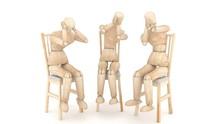 Three Wooden Puppets. 3D Rende...