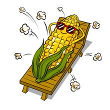Corn Tans On Beach Pop Art Vector Illustration