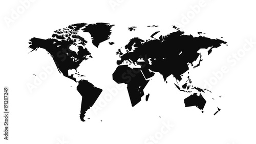 flat world map in a strict, straight contour for interior, design, advertising, covers, walls