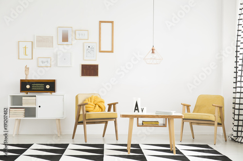 Living room interior with gallery - Buy this stock photo and explore ...
