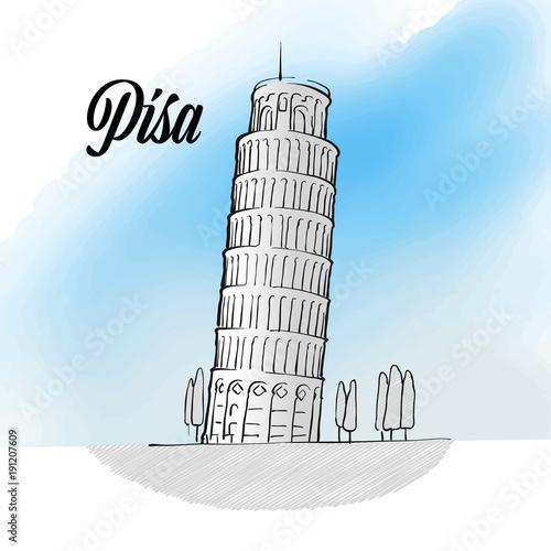 Valokuvatapetti Pisa Tower Landmark Sketch
