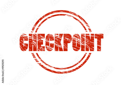 Photo checkpoint red vintage rubber stamp isolated on white background