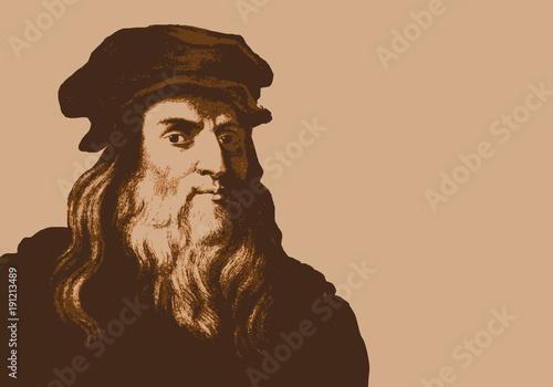 Fotografia, Obraz De Vinci - peintre - portrait - ingénieur - personnage historique - astronome -