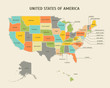 Cartoon Colorful USA Map Card Poster. Vector