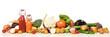 canvas print picture - regionales Gemüse, Flaschen mit Gemüsesaft, Panorama
