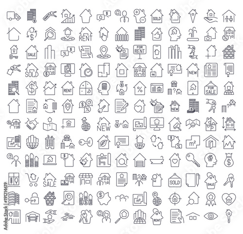A large set of icons on the topic of real estate. Icons for site
