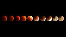 Red Lunar Eclipse At January 31, 2018 In Thailand.