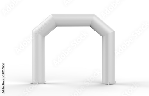 Photo White Blank Inflatable angular Arch Tube or Event Entrance Gate