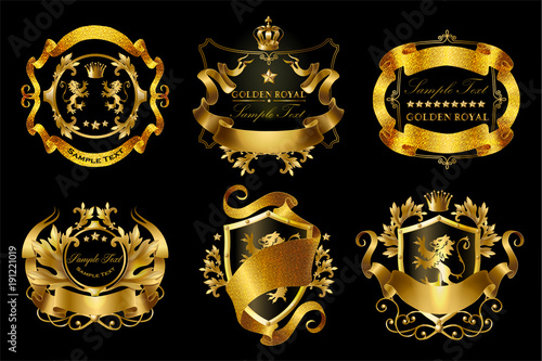 Foto  Vector set of golden royal stickers with crowns, shields, ribbons, lions, stars isolated on black background