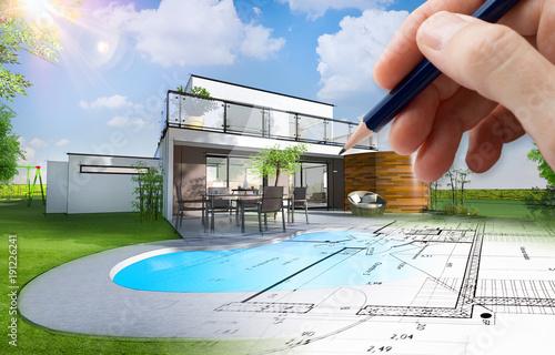Fototapeta Plan et esquisse d'une maison individuelle moderne avec piscine et jardin obraz