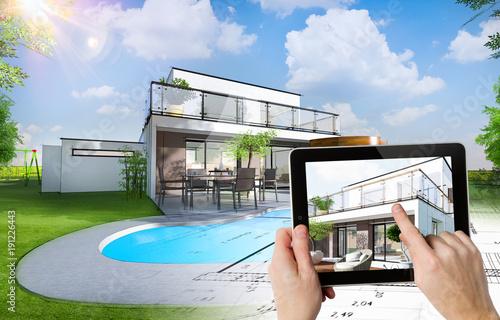 Plan et esquisse d\'une maison individuelle moderne avec ...