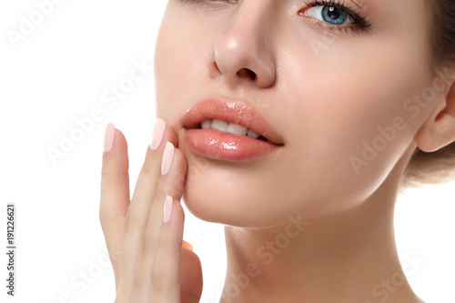 Close up view of young beautiful woman face Poster Mural XXL