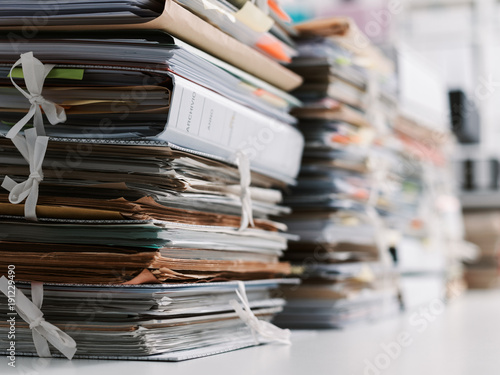 Photo  Stacks of paperwork in the office