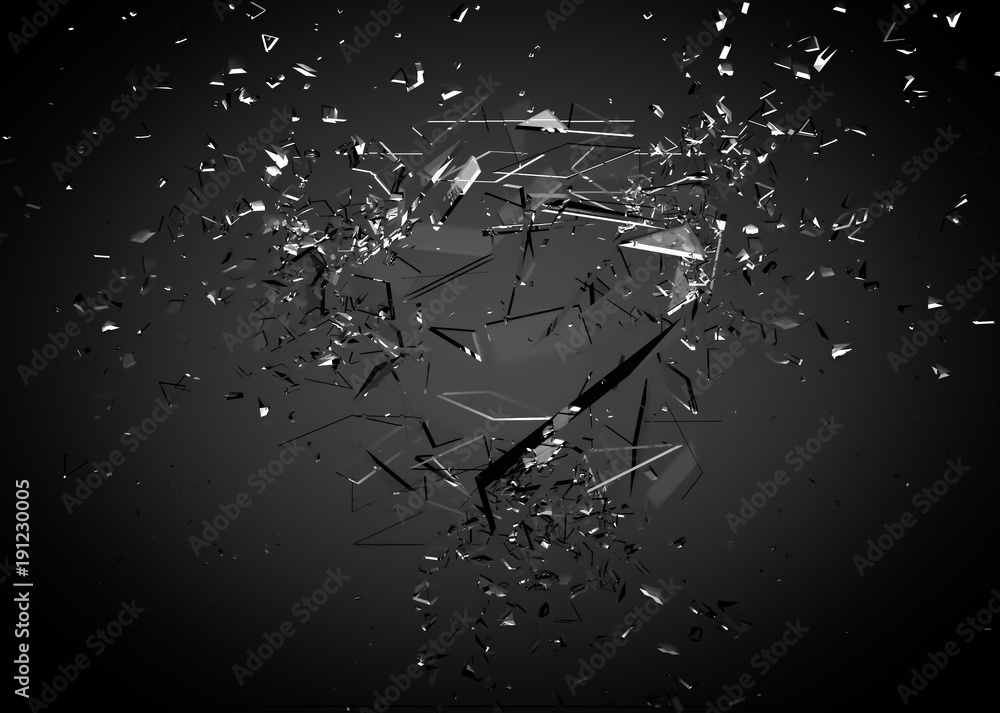 Fototapeta Beautiful fragments of glass splinters black background. 3d illustration, 3d rendering.