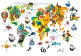 Fototapeta Fototapety na ścianę do pokoju dziecięcego - World  animals plasticine colorful kids 3d map