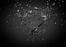 Beautiful Fragments Of Glass Splinters Black Background. 3d Illustration, 3d Rendering.