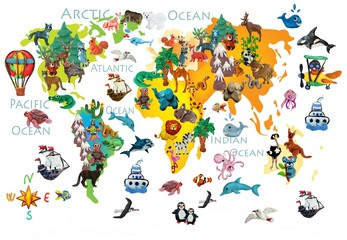 FototapetaWorld animals plasticine colorful kids 3d map
