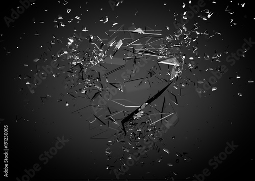 Fotomural Beautiful fragments of glass splinters black background
