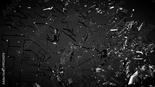 Obraz Beautiful fragments of glass splinters black background. 3d illustration, 3d rendering. - fototapety do salonu