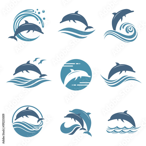 Photo collection with abstract emblem of dolphin and sea wave